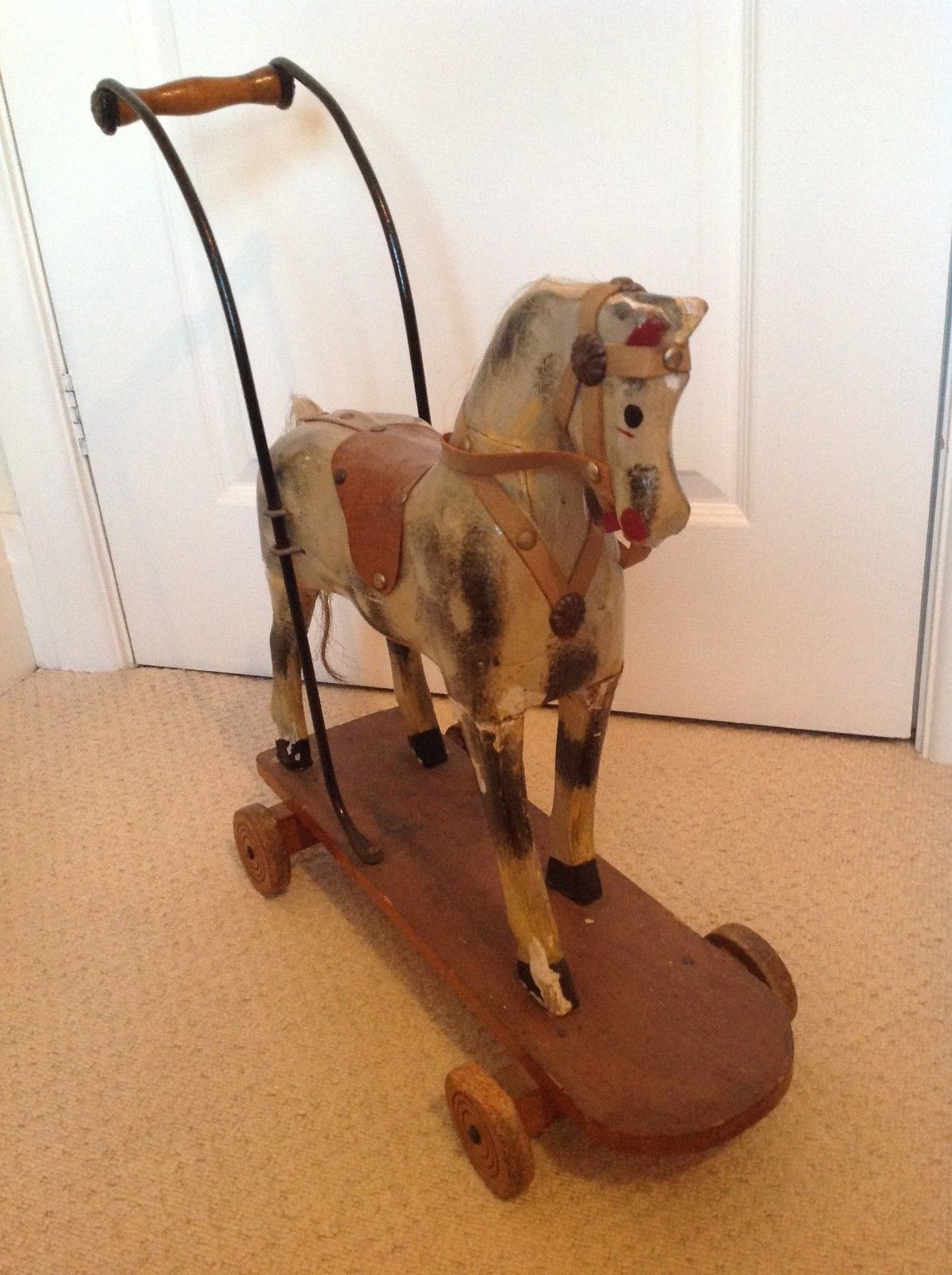 Antique push horse toy wood & gesso