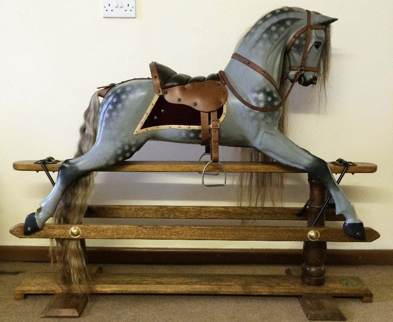 Legends rocking horse in a bespoke steel grey finish