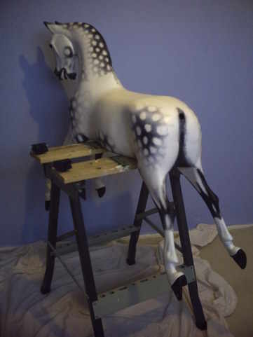 Traditional dapples restored on this Haddon rocking horse.
