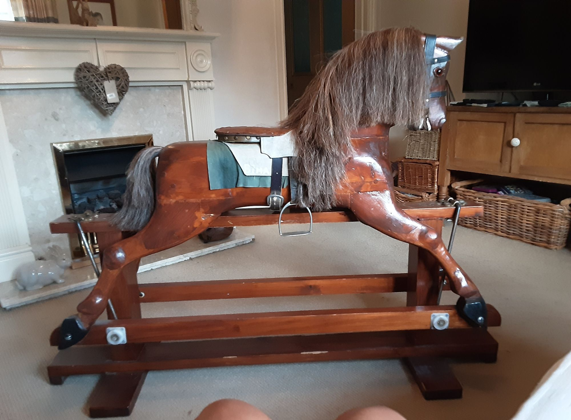 Characterful Wooden Rocking Horse For Sale