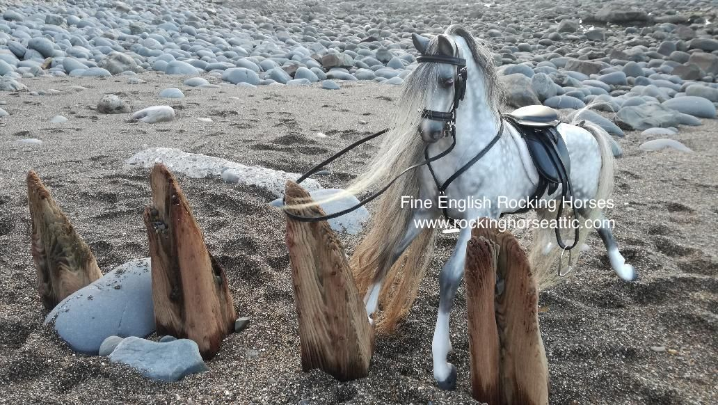 realistic dapple grey rocking horse for sale