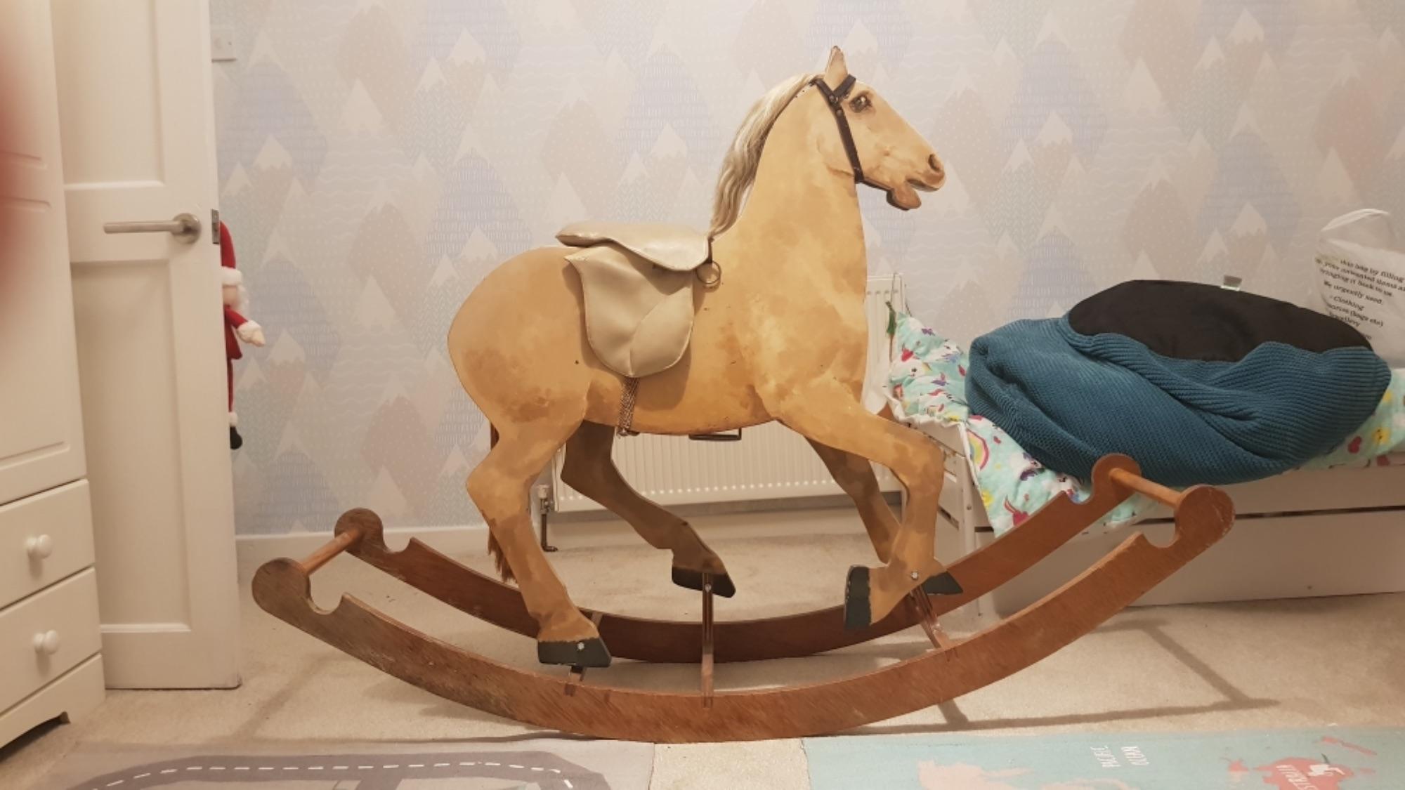 Vintage wooden children's rocking horse for sale