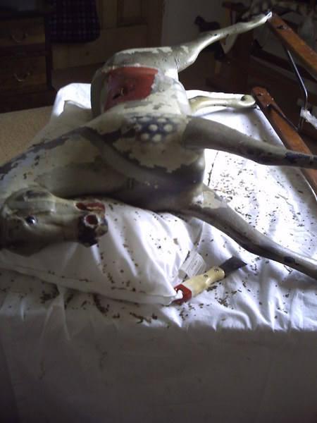 F H Ayres rocking horse undergoing restoration