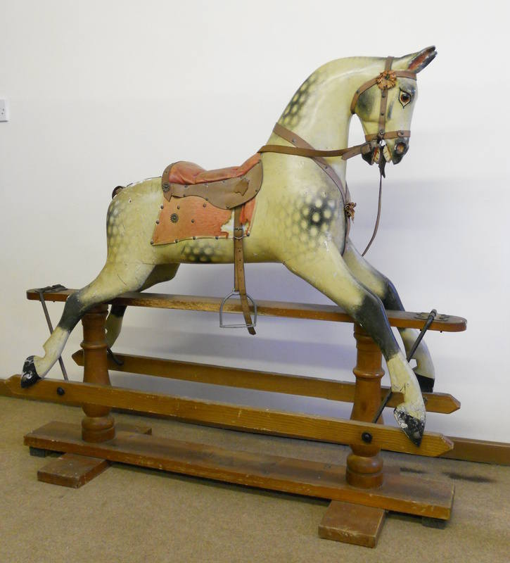 F H Ayres plaincarved rocking horse in original condition