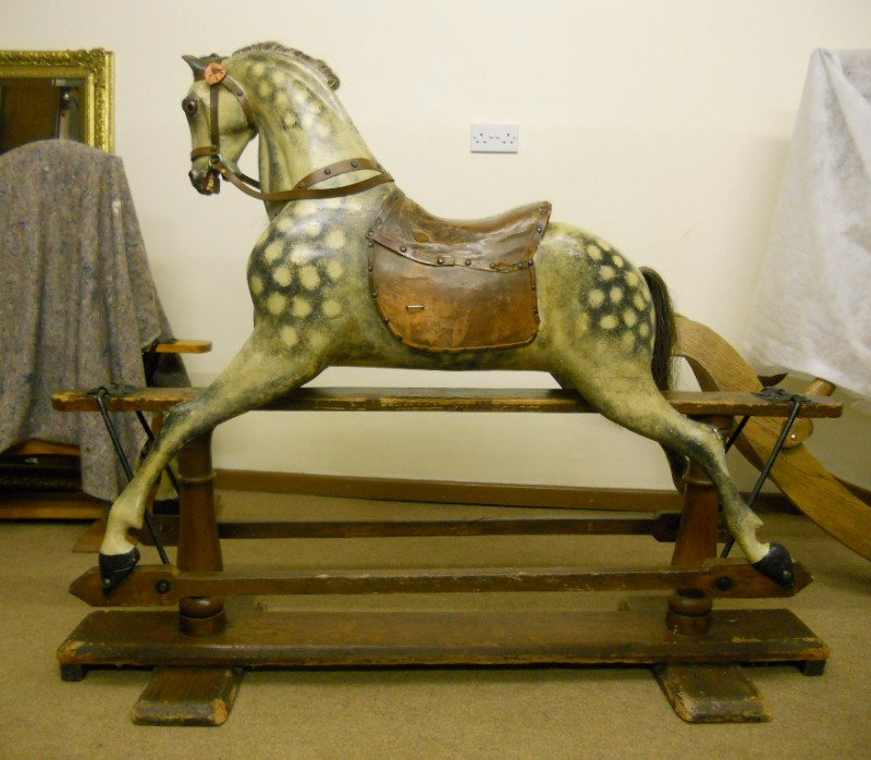 FH Ayres rocking horse extra carved in unrestored condition