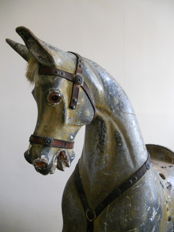 Head of extra carved early period G J Lines antique rocking horse