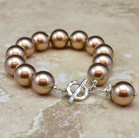Crystal Pearl Bracelet, with Charm (More Colours)