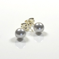 Classic Crystal Pearl Stud Earrings 6mm - Light Grey