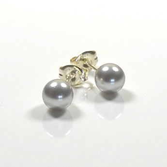 Classic Crystal Pearl Stud Earrings 6mm - Light Grey
