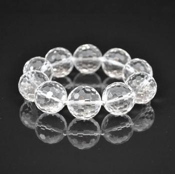Large Rock Crystal and Sterling Silver Bracelet