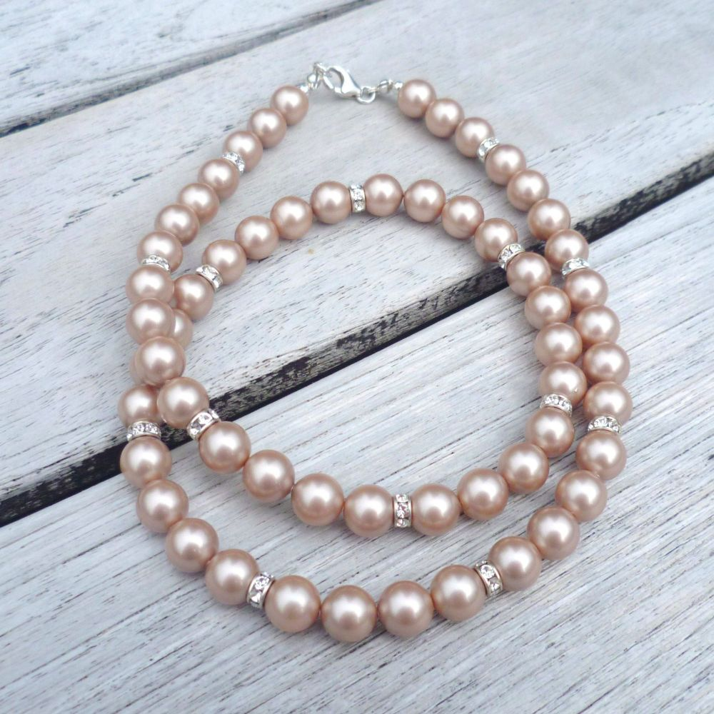 Small Crystal Pearl Necklace