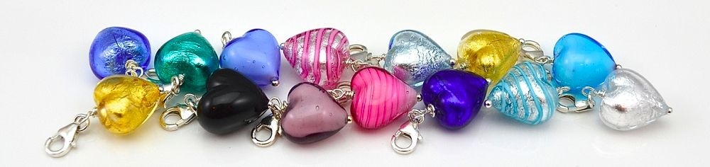 Murano Glass Heart Charms | Julie Walton Jewellery