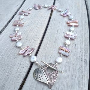 Blog - Biwa Coin Pearl Necklace (Heart Clasp)