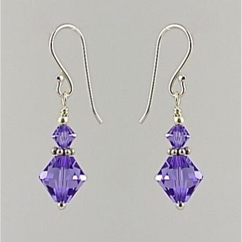 Crystal and Sterling Silver Earrings (Tanzanite)