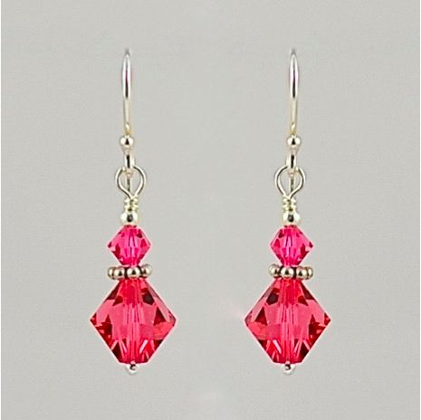 Swarovski Crystal and Sterling Silver Earrings (Indian Pink)