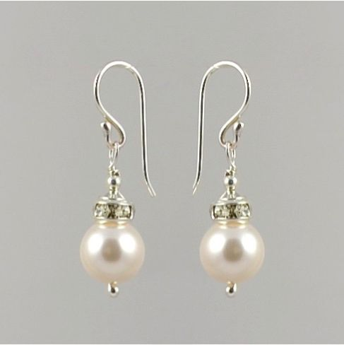 Small Crystal Pearl Earrings (White)