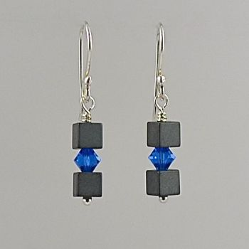 Hematite and Crystal Earrings (Capri Blue)
