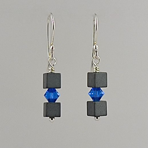 Hematite and Swarovski Crystal Earrings (Capri Blue)