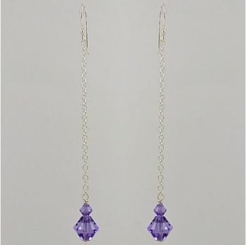 Crystal Long Drop Earrings (Tanzanite)