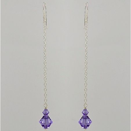Swarovski Crystal (Tanzantite) Long Drop Earrings