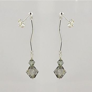 Black Diamond Crystal and Sterling Silver Earrings
