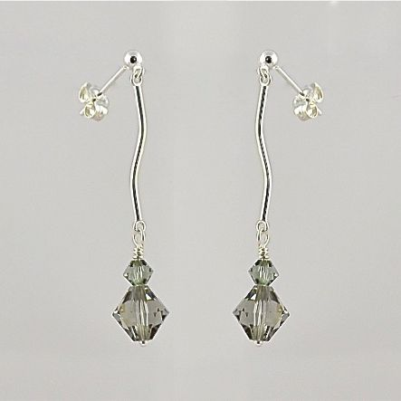 Black Diamond Crystal and Sterling Silver Earrings