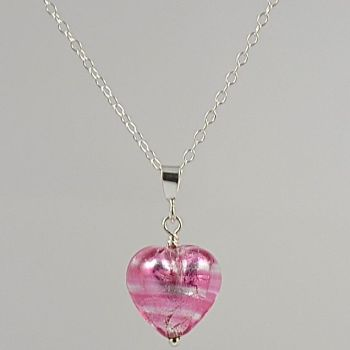 Rosa Silver Murano Glass Heart Pendant (Small)