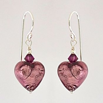 Amethyst Silver Murano Glass Heart Earrings