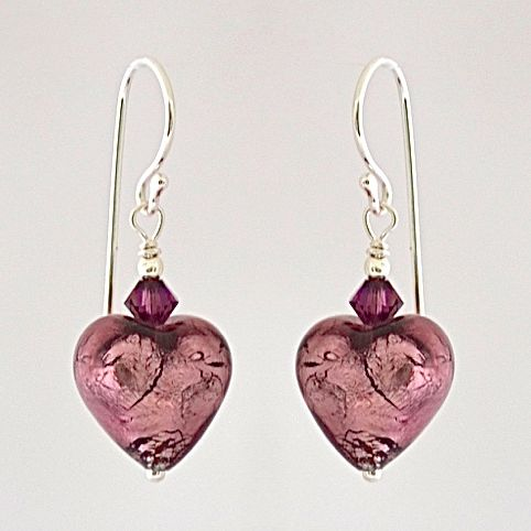 Amethyst Silver Murano Heart Earrings