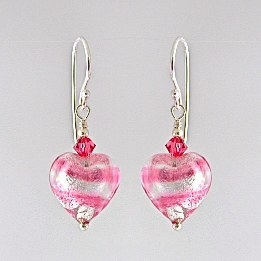 Rosa Silver Murano Glass Heart Earrings