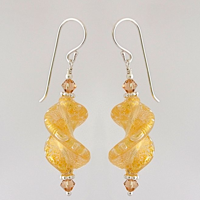 Crystal Gold Murano Glass Spiral Twist Earrings