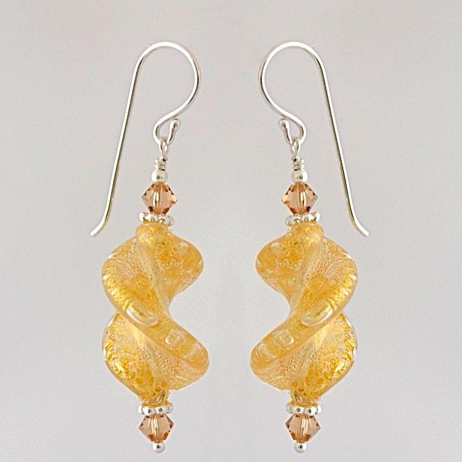 Crystal Gold Murano Glass Spiral Twist Earrings