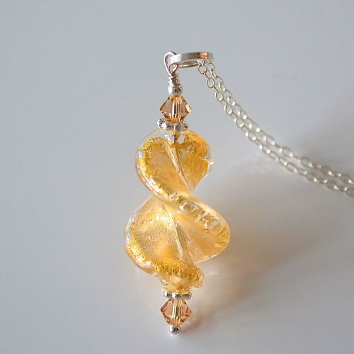 Crystal Gold Murano Glass Spiral Twist Pendant