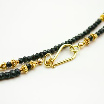Black Spinel and Vermeil Necklace (or multi-wrap Bracelet)