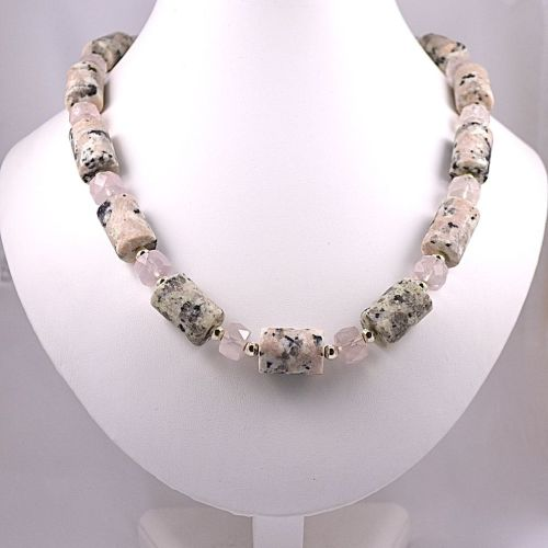 Granite, Rose Quartz and Silver Necklace