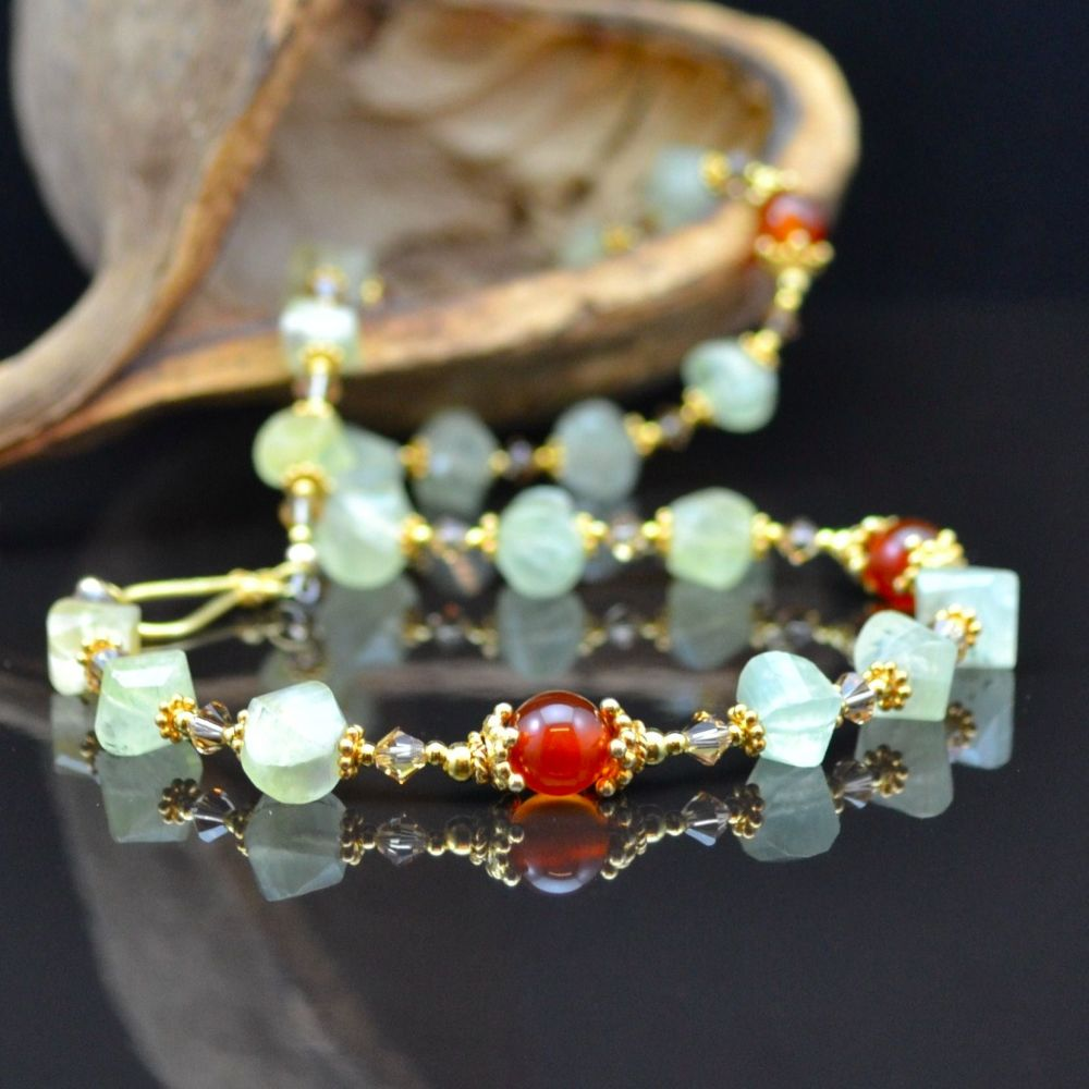 Prehnite and Vermeil Necklace