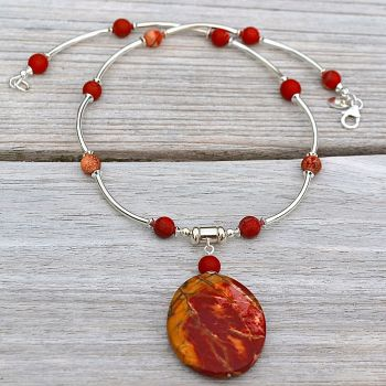 Red Jasper and Sterling Silver Necklace