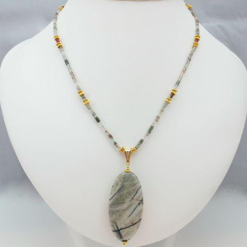 South African Bloodstone and Vermeil Necklace