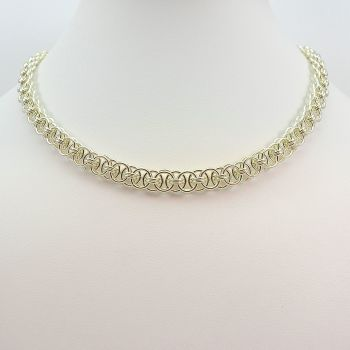 Sterling Silver Chainmaille Necklace (Helm Weave)
