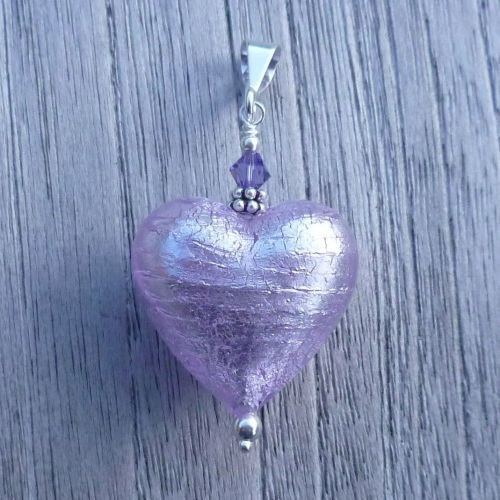 Alex Silver Murano Glass Heart Pendant