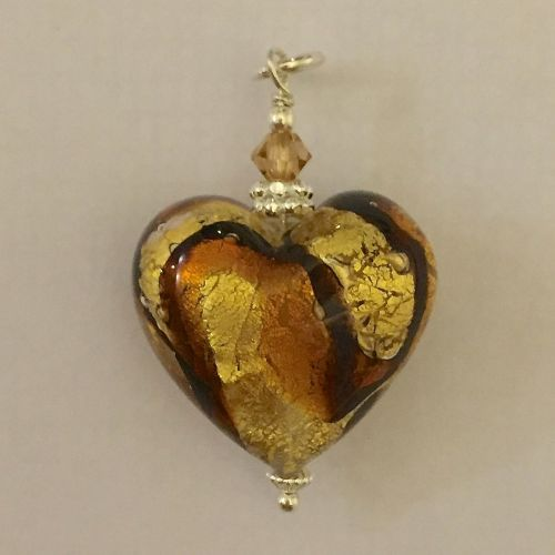 Africa Gold Murano Glass Heart Pendant