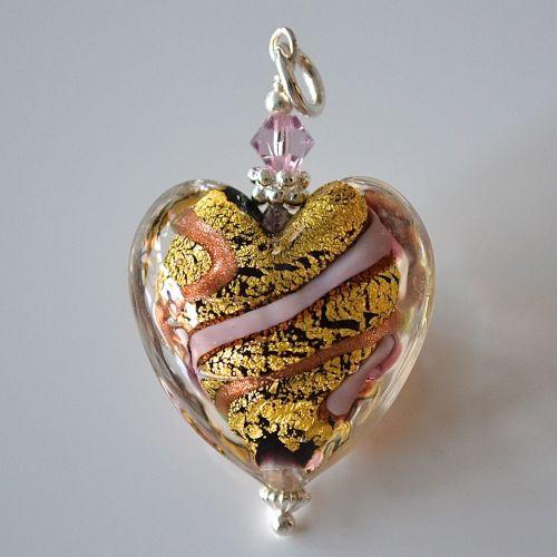Light Amethyst Gold Aventurine Murano Glass Heart Pendant