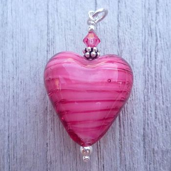 Rosa (White Core) Murano Glass Heart Pendant