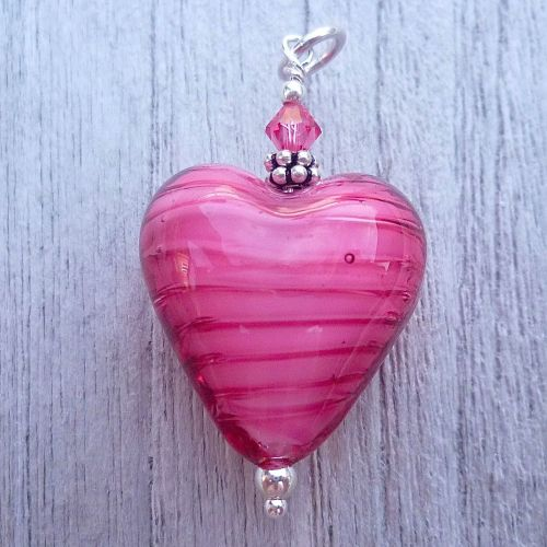 Rosa (White Core) - Murano Heart Pendant