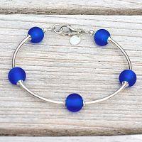 Cobalt Blue Frosted Glass and Sterling Silver Bracelet