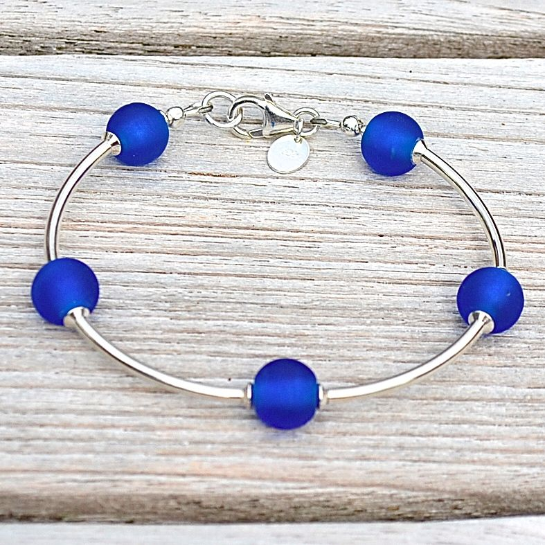 Cobalt Blue Frosted Glass and Sterling Silver Bracelet