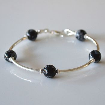 Snowflake Obsidian and Sterling Silver Bracelet