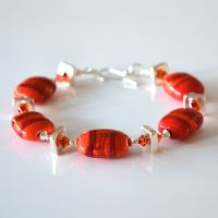 Red Glass and Silvered Ceramic Bracelet
