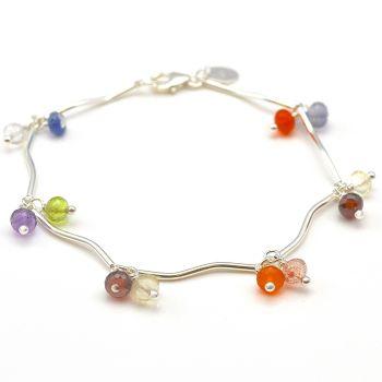 Multicolour Gemstone and Sterling Silver Bracelet