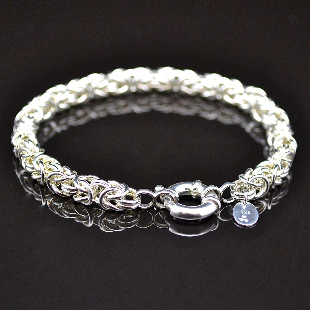 Sterling Silver Byzantine Bracelet (Bolt Ring Clasp)